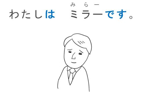 わたしはミラーです。(名前)日本語初級・第1課の教案とイラスト