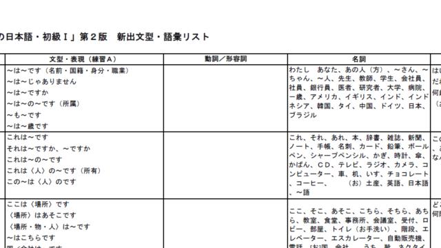 外国人向けひらがなの教え方ディクテーション用単語リスト