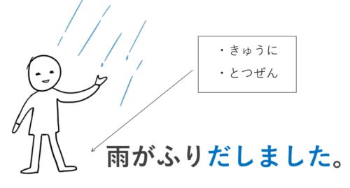 突然雨が降り出しました。