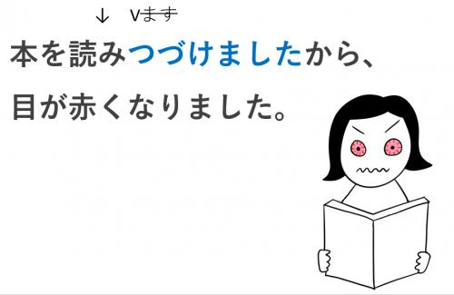 本を読み続けて、目が赤くなった。