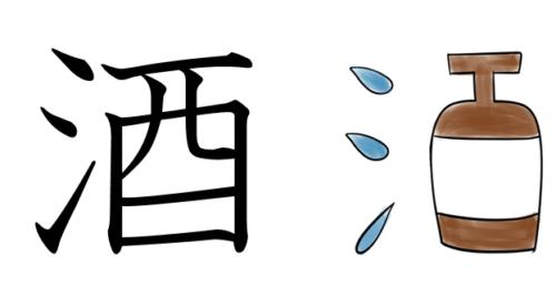 漢字の成り立ちイラスト(酒)