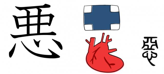 漢字の成り立ち、字源、イラスト「悪」