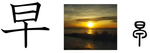 漢字の成り立ち、字源、イラスト「早」