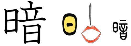 漢字の成り立ち、字源、イラスト「暗」