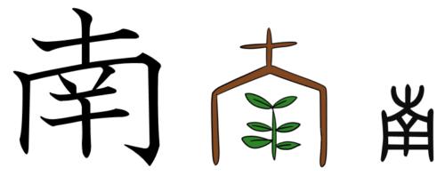 漢字の成り立ち、イラスト、絵「南」