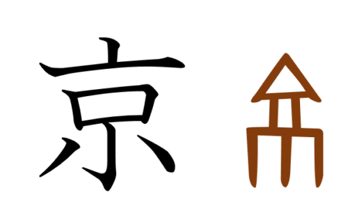 漢字の成り立ち、イラスト、絵「京」