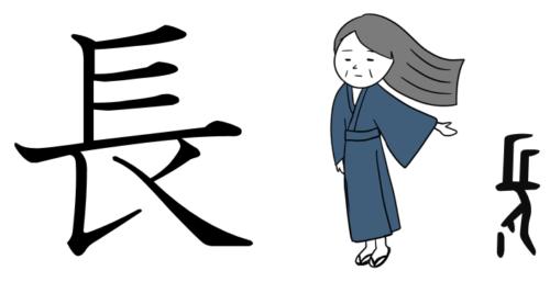 漢字の成り立ち、字源、イラスト「長」