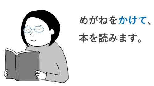 めがねをかけて本を読みます