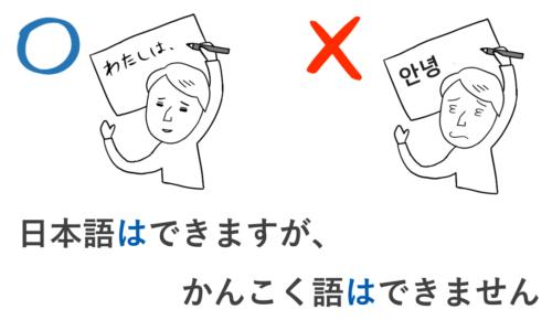 日本語はできますが、韓国語はできません