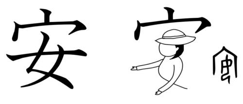 安 漢字 成り立ち