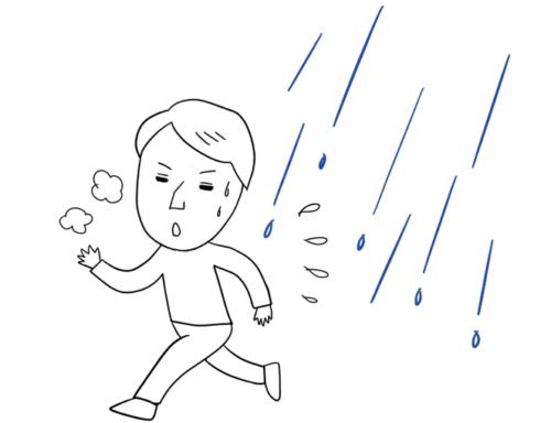 雨が降っても、ジョギングをします。