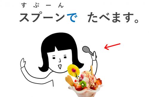 スプーンで食べます で 手段 第7課