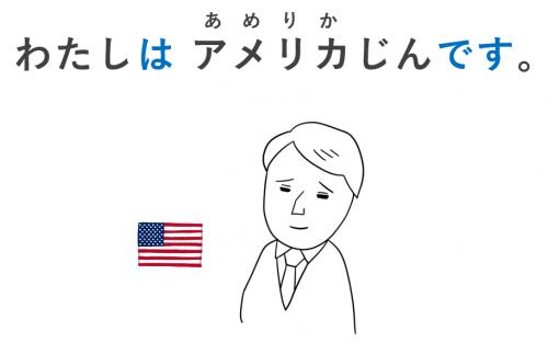 わたしはアメリカ人です(国籍) 日本語初級・第1課の教案とイラスト